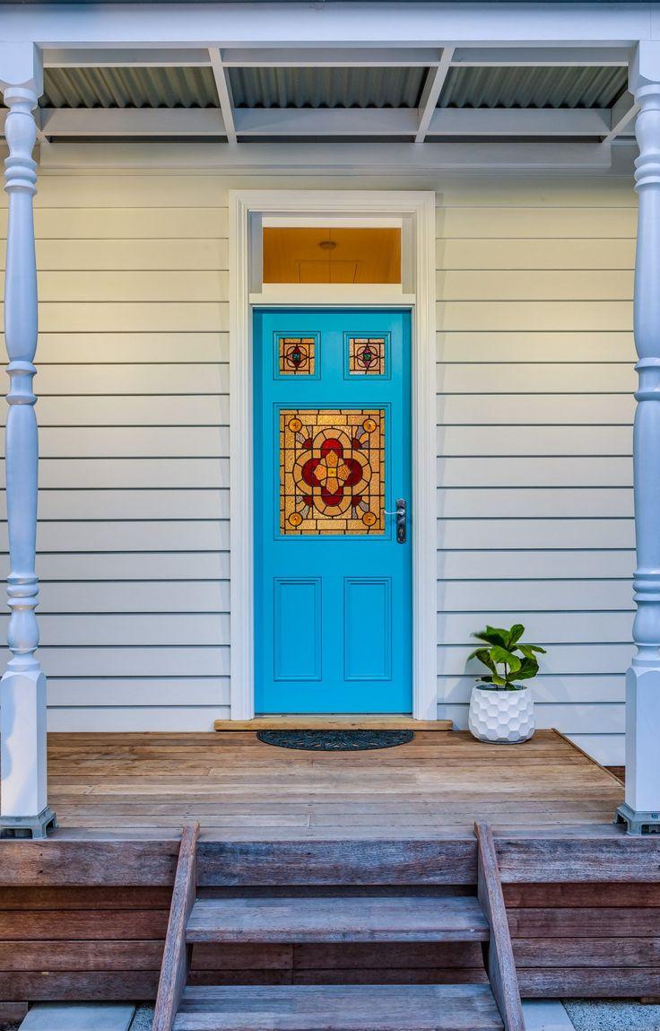 leadlight front door. West Leederville cottage renovation.