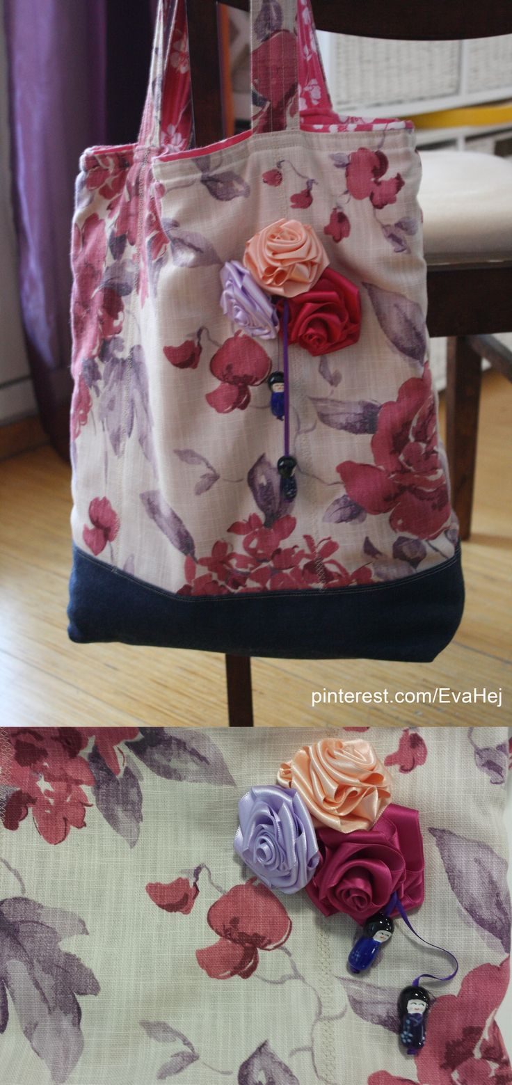 Fabric tote with handmade ribbon flowers.