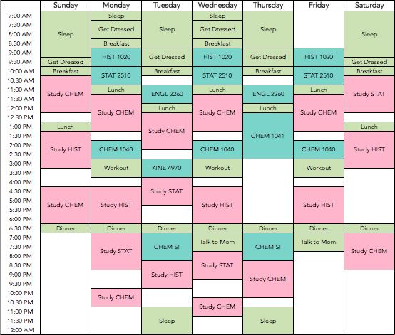 College Students | Study Timetable for University