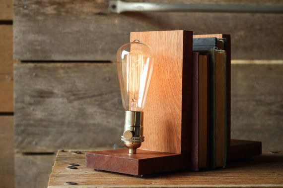 Signature Bookends Sapele Wood- Modern Bookends, Book Accessories, Solid Sapele, Edison Bulb Lamp on Etsy, 90,02€