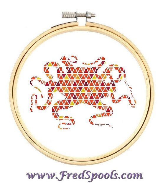 Octopus Cross Stitch Counted Cross Stitch Kit Orange by FredSpools