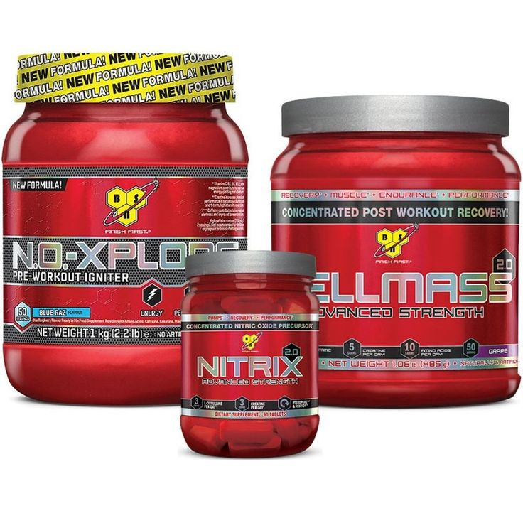 The Mass Stack by BSN Muscle Building Stack 1 No-Xplode, 1 Cell MASS and Nitrix #BSN