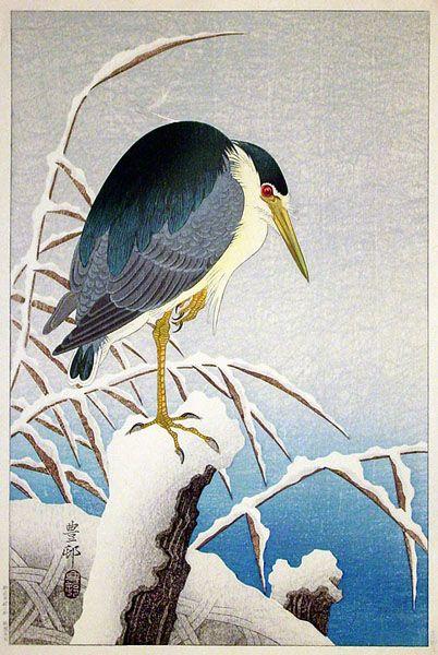Heron on Snowy Branch  by Ohara Koson