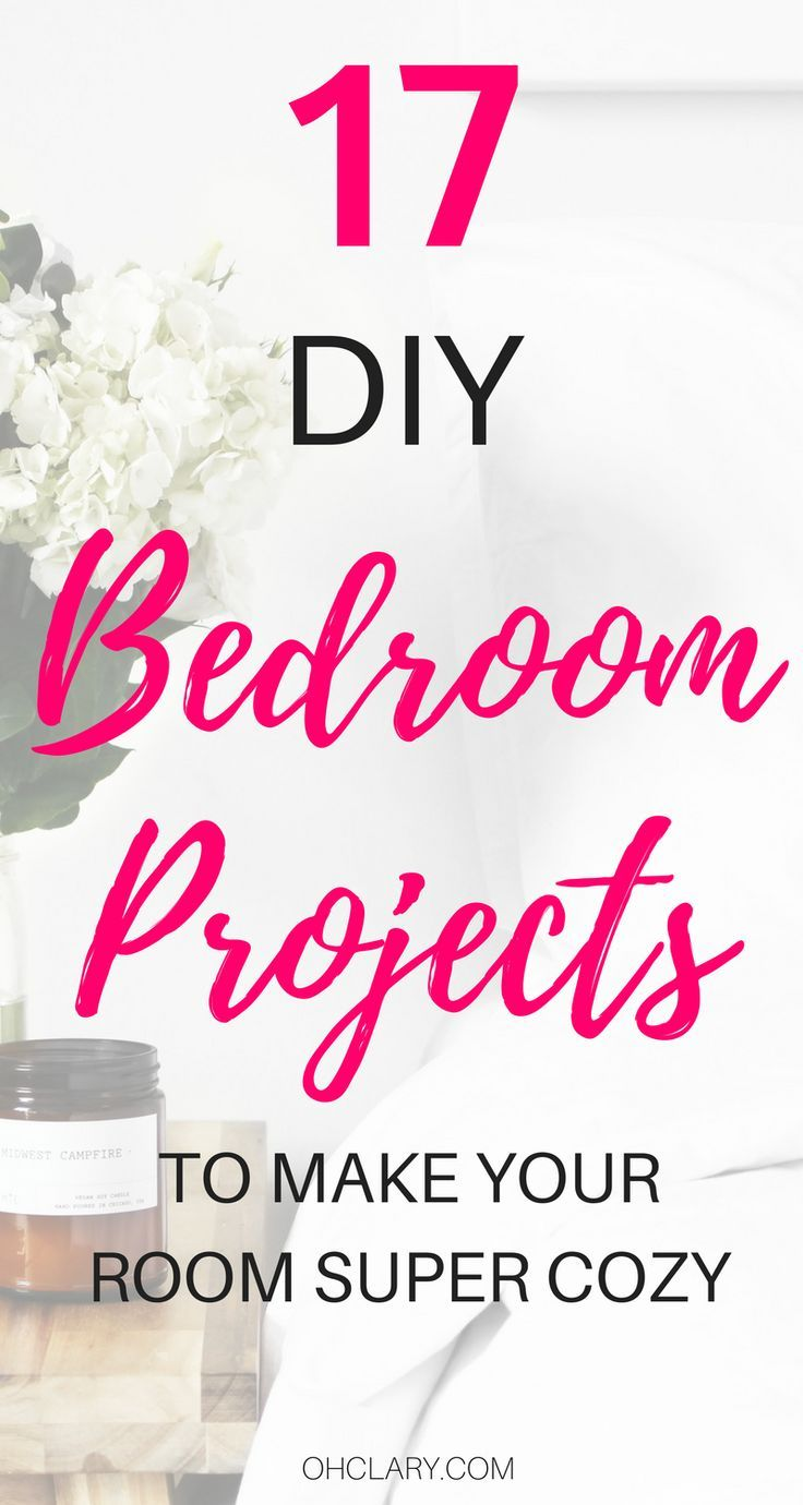 Who doesn't love a beautiful bedroom? These 17 Inexpensive DIY Bedroom Ideas will help you create the bedroom of your dreams on a budget! From beautifully tufted headboards on the cheap to cozy pom pom rugs, this list has it all to make your bedroom the coziest place on earth!! diy bedroom ideas #bedroomideas #bedroomdiy #diyhomedecor #diyhome #diyproject