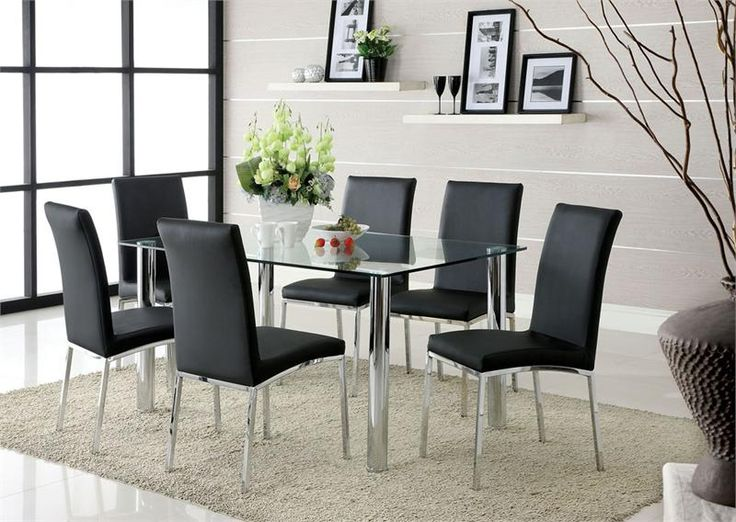 Kauai Contemporary Style Glass Table Top Dining Set With Chrome Finish Legs Brighten Up Any Room This