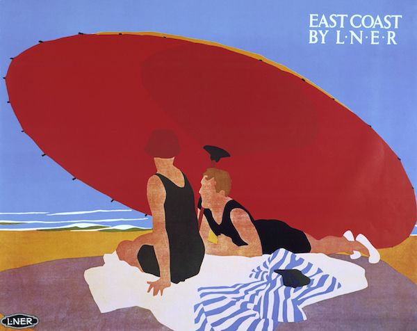 ÔEast Coast by LNERÕ, LNER poster, 1930s.Poster produced for London & North Eastern Railway (LNER) to promote rail travel to the East Coast of England. The poster sows two women sitting under a large red beach umbrella. Artwork by Tom Purvis (1888-1957), who rallied for the professionalisation of commercial art.