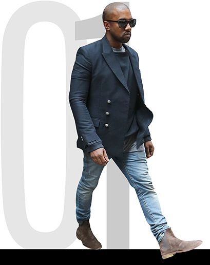 Light denim and stone suede boots, Kanye West - Best dressed men of the week 051214