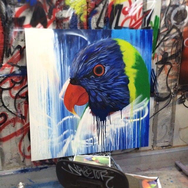 Stage work on the painting.. #paint #color #canvas #art #illurstrationdesign #akcartooning #rainbowlorikeets #rainbow #blue #design #work #d...