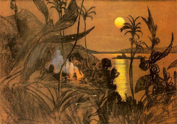 """Pejzaż australijski 'Zacząłem N.Ż. Nie palę. Duży obraz skończyłem przed swiętami.'  """"Po samobójczej smierci Jadwigi Janczewskiej, narzeczonej Witkacego,  [Malinowski] zaproponował mu udział w wyprawie na Nową Gwineę w charakterze rysownika i fotografa. Po dwutygodniowym pobycie na Cejlonie i podróży przez Australię, którą odbyli w sierpniu 1914, poróżnili się i Witkacy wrócił do Europy, Malinowski zas odpłynął na Wyspy Trobrianda, gdzie rozpoczął badania nad życiem i zwyczajami tubylców."""""""