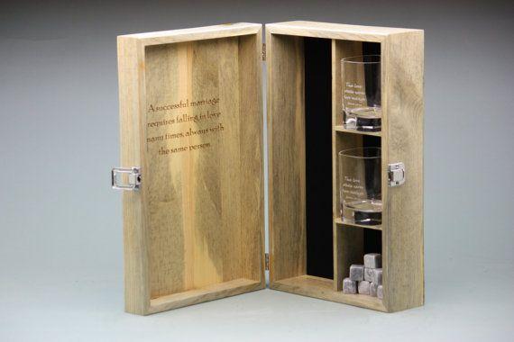 Custom Engraved Whiskey Box Set with 2 Engraved by GiftsCreatedLLC