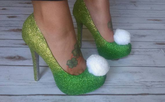 Tinker bell inspired high heels. Fairy shoes. by GlamAndGloryLab