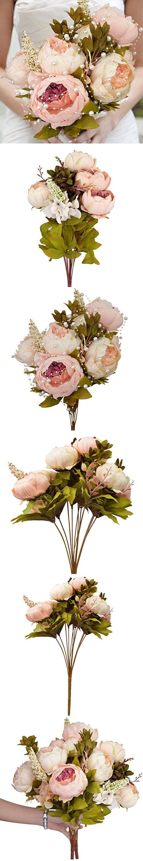 Nobel Vintage Artificial Peony, Hmxpls Silk Flowers Bouquet Home Wedding Decoration Dining-table Hotel party Wedding DIY Craft fake flores marriage decoration
