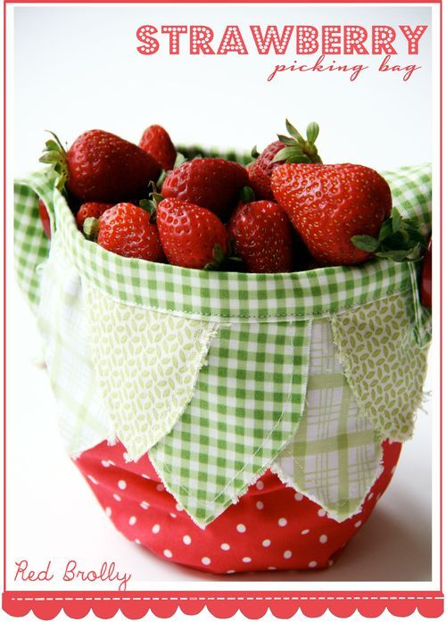 Strawberry-picking-bag  free sewing pattern by-red-brolly  - Might have to make one of these for my little shortcake this summer!