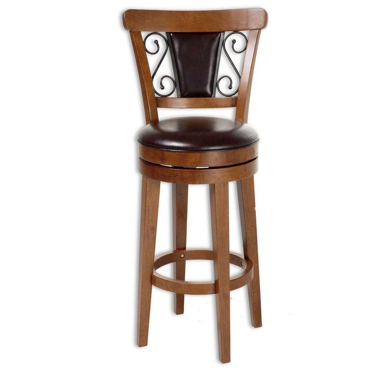 "Trenton 26"" Wood Counter Stool with Brown Upholstered Swivel-Seat & Nutmeg Frame"