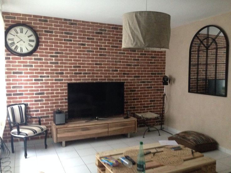faux mur de brique diy avec des plaques de chez leroy merlin on dirait un vraie home sweat. Black Bedroom Furniture Sets. Home Design Ideas