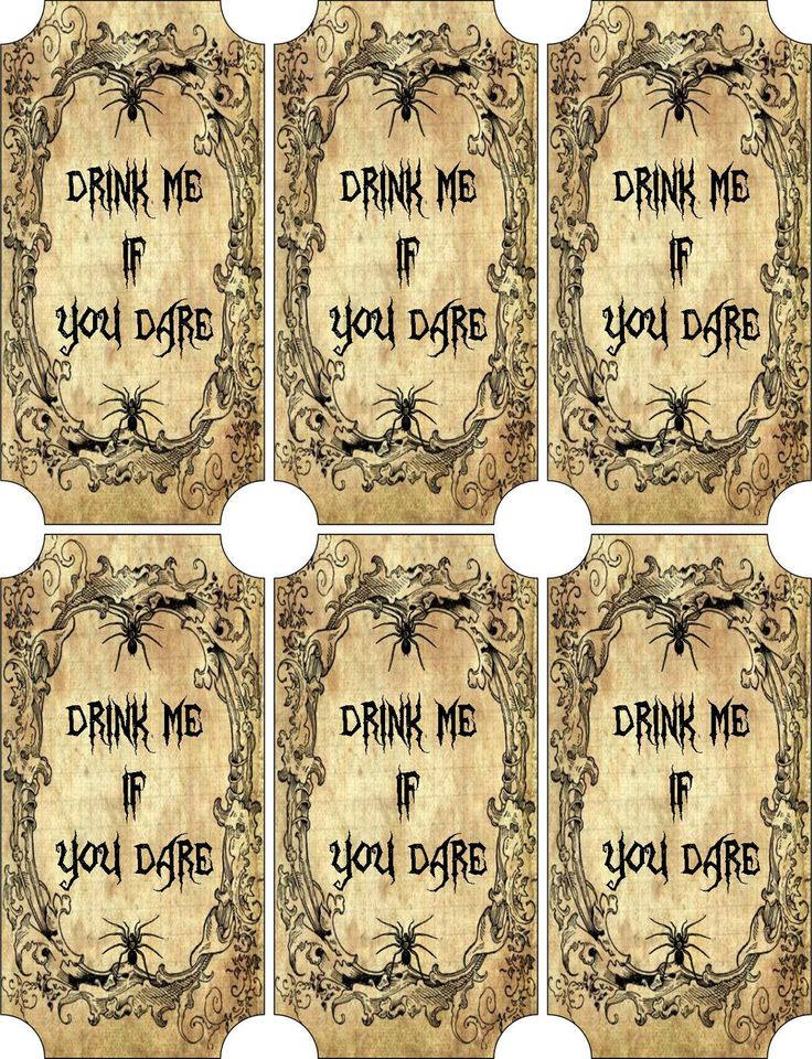 Vintage Inspired Halloween 6 Large Bottle Label Drink Me Scrapbooking Crafts | eBay