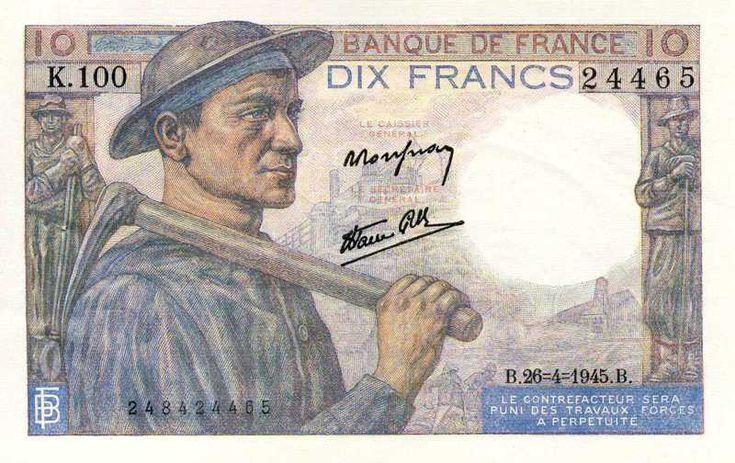 collection billet banque de france f 8 10 francs mineur billet pinterest. Black Bedroom Furniture Sets. Home Design Ideas