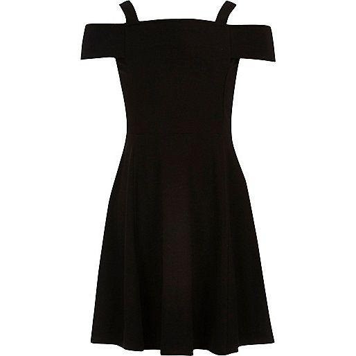Girls black bardot skater dress - party dresses - dresses - girls