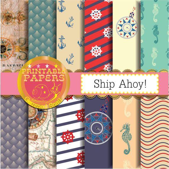 Nautical digital paper, nautical backgrounds ship ahoy! 12 nautical scrapbook papers, sea digital paper