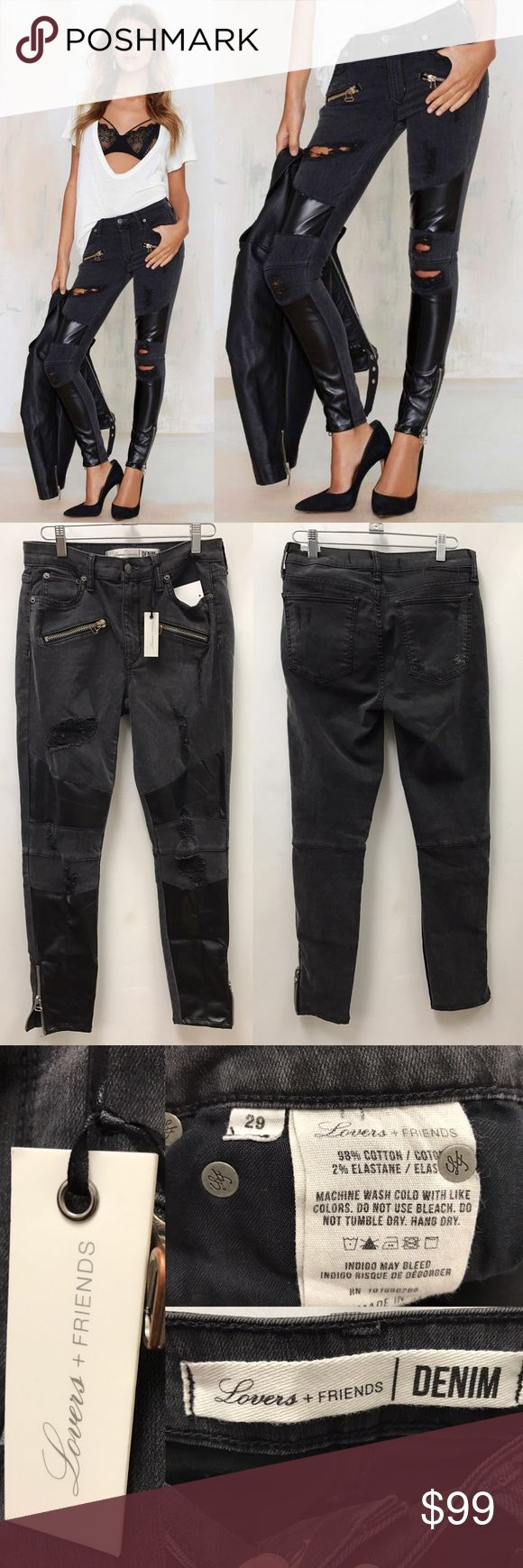 "Lovers and friends distressed moto skinnies Lover and friends distressed moto skinnies comes in a stretch denim. Light black wash (gray) has black faux leather patches on knees and leg. 5 pocket design plus 2 zipper pockets. Has zipper on ankles. Waist 14 1/2"", rise 9"", inseam 28"" Lovers + Friends Jeans Skinny"