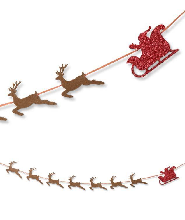 Santa & Reindeer Garland   Glittered Santa and His Sleigh Garland   Bethany Lowe Christmas Collection