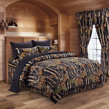 Regal Comfort The Woods Black Camouflage Twin 5pc Premium Comforter, Sheet, Pillowcases, and Bed Skirt Set Camo Bedding Set For Hunters Cabin or Rustic Lodge Teens Boys and Girls