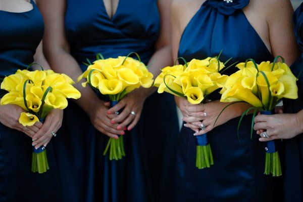 Modern Blue Yellow Bouquet Flowers Wedding Bridesmaids Photos & Pictures - WeddingWire.com