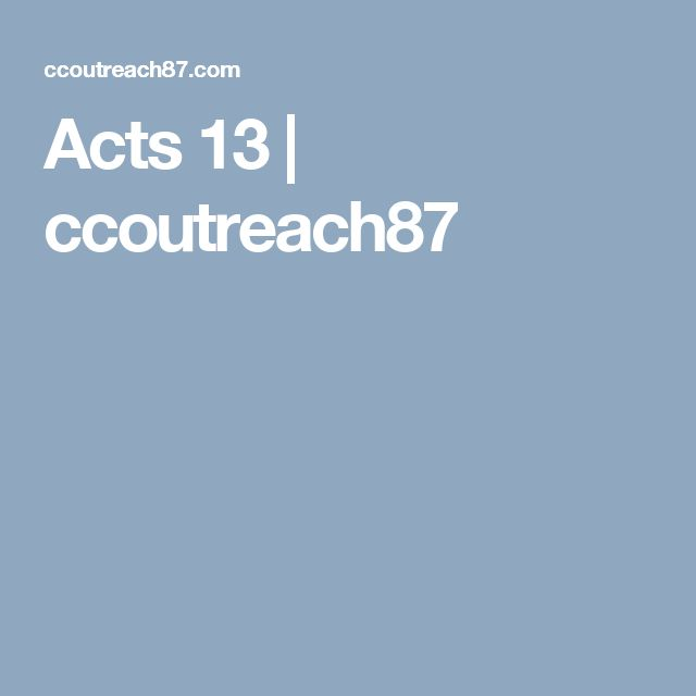 Acts 13 | ccoutreach87