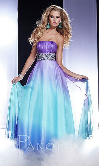 Strapless Ombre Prom Dress by Panoply 14435 at PromGirl.com