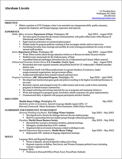 9 best Résumés images on Pinterest Resume tips, Resume templates - resume examples for internship