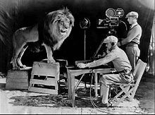 Jackie's roar being recorded for use at the beginning of MGM talking movies. A sound stage was built around his cage to make the recording