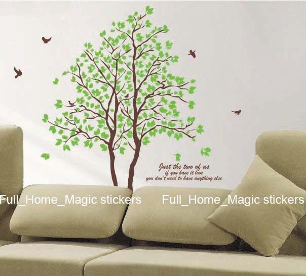 Twin Tree&Birds REUSABLE Vinyl Wall Stickers Art Decals in Home, Furniture & DIY, DIY Materials, Wallpaper   eBay