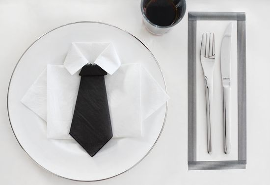 "This could be a cute folded napkin idea for a boys First Communion or Confirmation -- especially if you added a cross or chalice shaped sticker as a small ""tie tack""!"