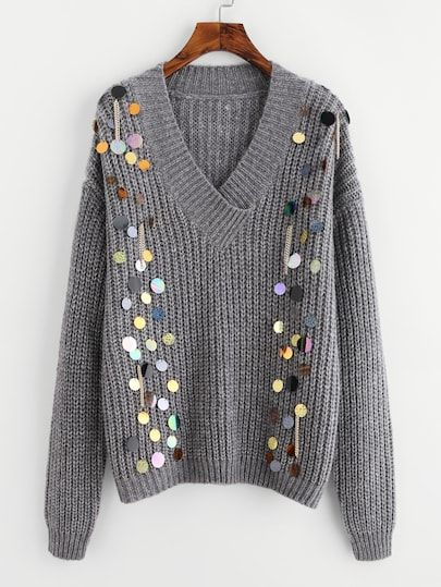 a52a6ed629 Sequin And Chain Embellished V Neck Jumper -SheIn(Sheinside ...