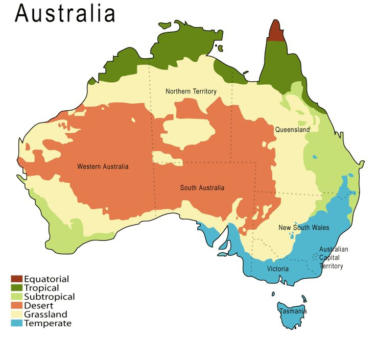 Climate map of Australia, based on the Köppen Climate Classification