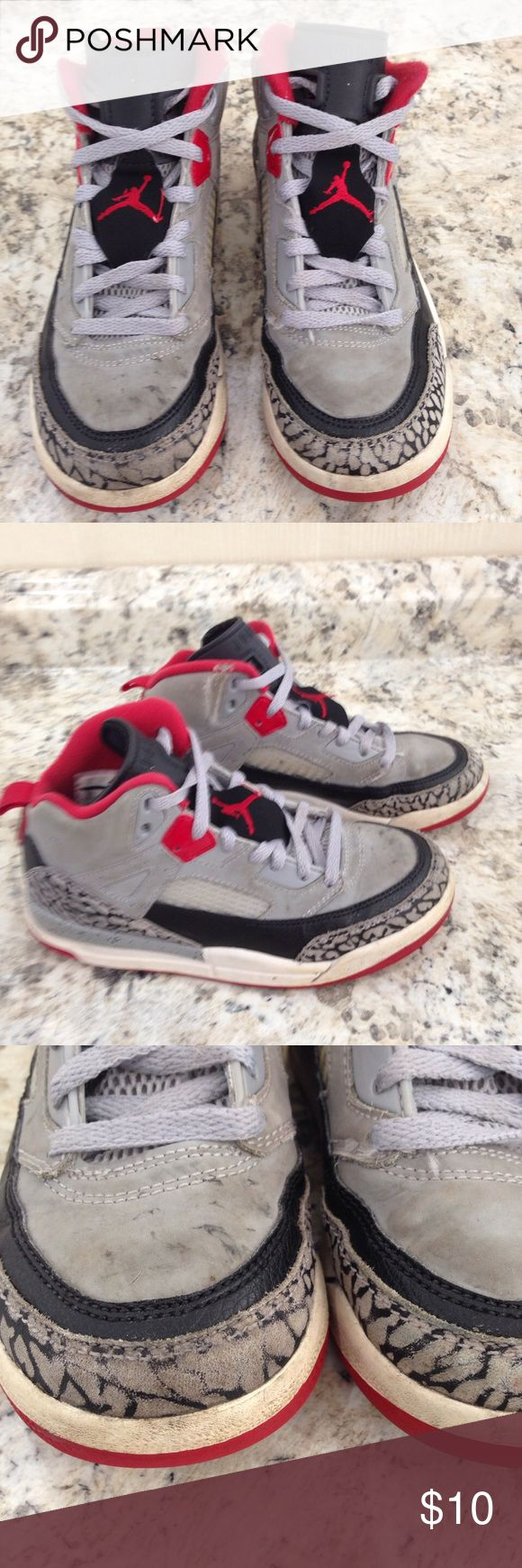 🌴NEW LISTING🌴 Distressed Jordan Sneakers Gray, black and red. Distressed. Appears soiled even though washed. Show signs of wear. Size 1. (5/8) Jordan Shoes Sneakers