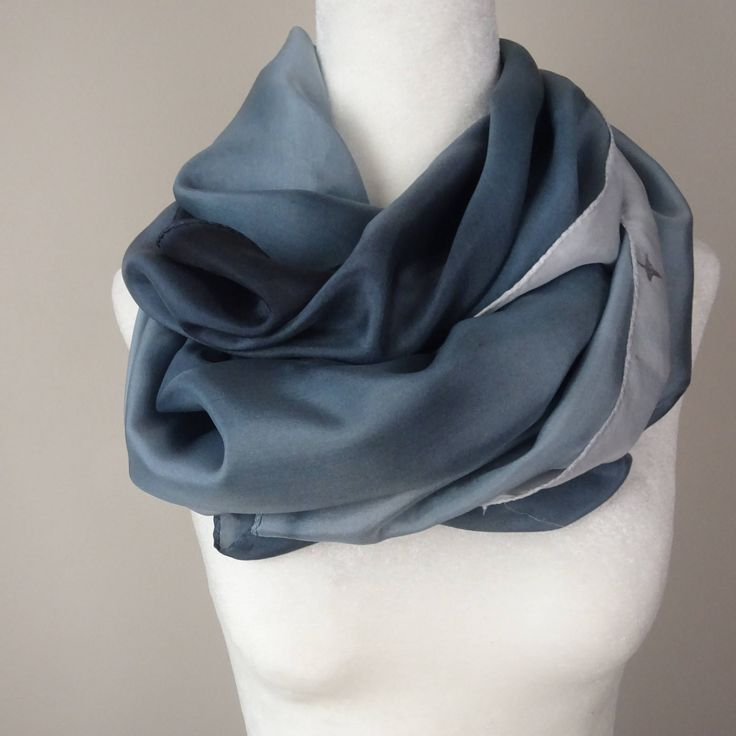 "Back In Stock! Hand Painted Silk Scarf in Grey Ombre ""Shades of Grey"", handmade. Approx 21 X 73 inches by SeesaSilk on Etsy"