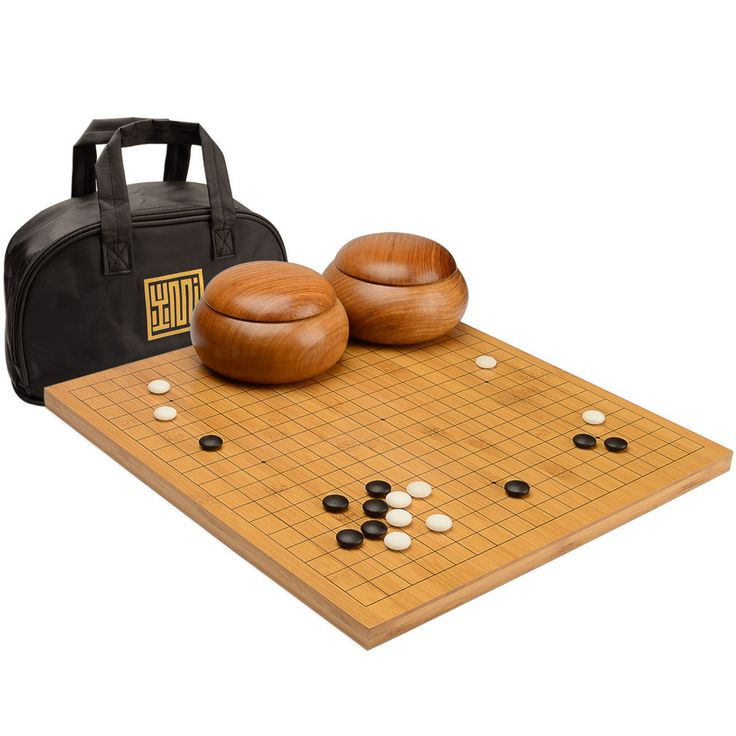 "Bamboo 0.8"" Go Board w/ 9.2mm Double Convex Yunzi Stones and Burma Padauk Wood Bowls Set"