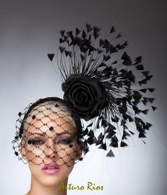 Schwarz Couture Fascinator Kentucky Derby Hut von ArturoRios                                                                                                                                                                                 Mehr