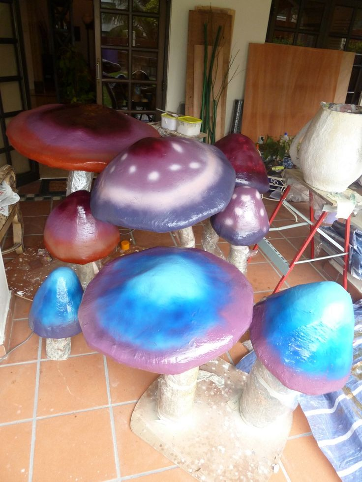 Giant Paper Mache Mushrooms for Mad Hatters Tea Party Decor