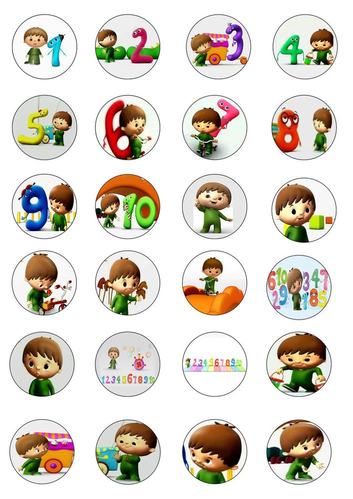 24x EDIBLE CAKE CUPCAKE TOPPERS BIRTHDAY CHARLIE AND THE NUMBERS BABYTV in Crafts | eBay