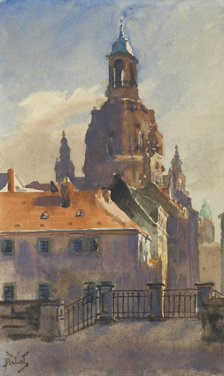 Julian Fałat: Widok Drezna 1911-16, akwarela, papier, 21 x 13 cm
