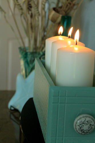 Old Drawer DIY Candle Holder | DIYIdeaCenter.com