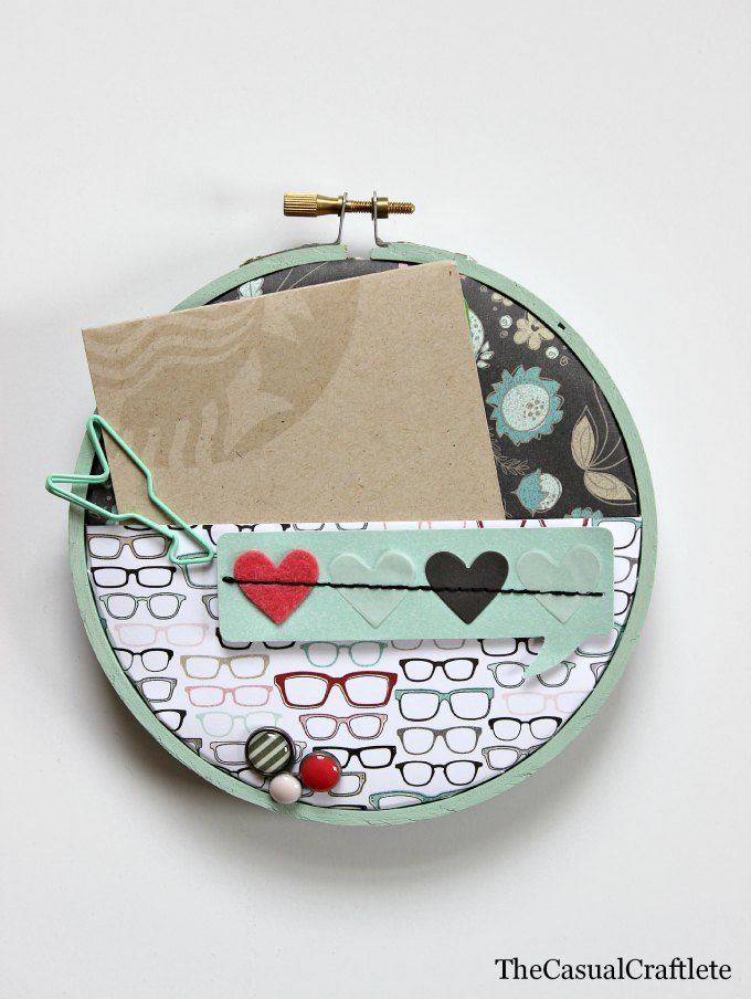 Paper embroidery hoop gift card holder crafts
