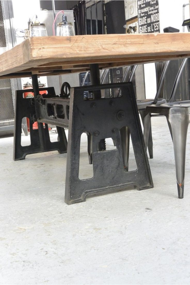 Dining tables gerrit industrial style rustic pine iron dining table - Fabbed Top And Steel Chairs Industrial Tableindustrial Furnitureoutdoor