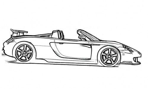 racing car porsche carrera coloring page