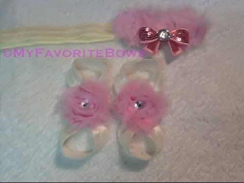 ▶ How to make barefoot sandals using shabby flowers - YouTube