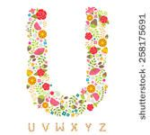 Alphabet Bright Floral - version four - stock vector