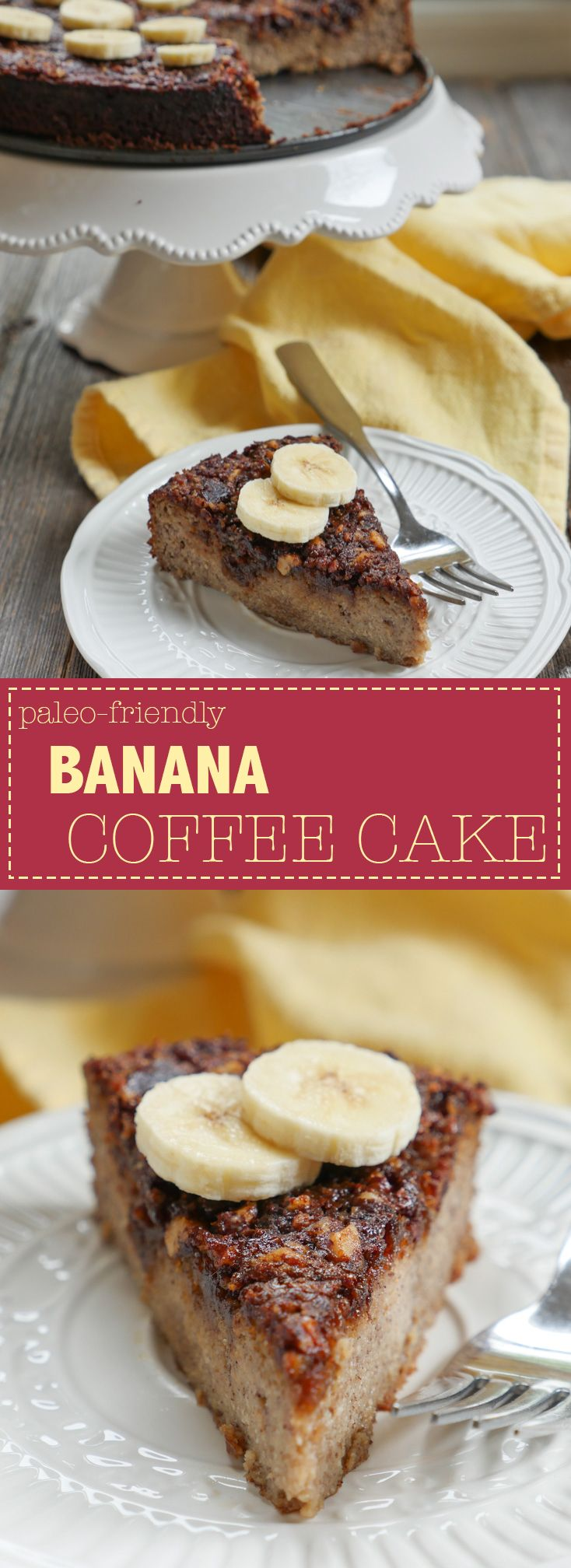 This paleo-friendly Banana Coffee Cake is the perfect complement to coffee! Recipe by Ashley of MyHeartBeets.com