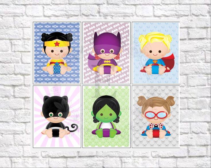 Superhero prints, Superhero wall art, girls superhero, superhero party, Baby Girl, Superhero Nursery, Baby Superhero, Nursery Decor, letters by EmmaryDesign on Etsy https://www.etsy.com/listing/401067757/superhero-prints-superhero-wall-art